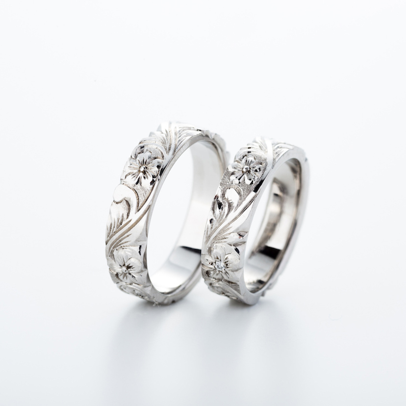 手掘りのハワイアンのリングです。模様をイチからデザインしてお好きな模様に変更することも可能です。こだわり派のあなたにも!