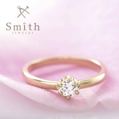 【Smith】手作り婚約指輪 正統派リングも、ミルククラウンでキュートな印象に