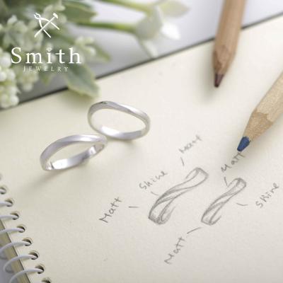 【Smith】手作り結婚指輪 ウェーブ&マット仕上げの部分使いでワンランク上質感