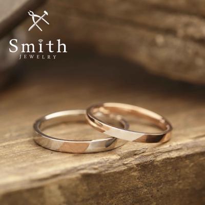 【Smith】手作り結婚指輪 ピンクとホワイトのツートンカラーがおしゃれ