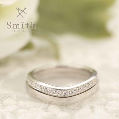 【Smith】手作り結婚指輪 憧れのハーフエタニティー、重ねづけでさらに美しく!