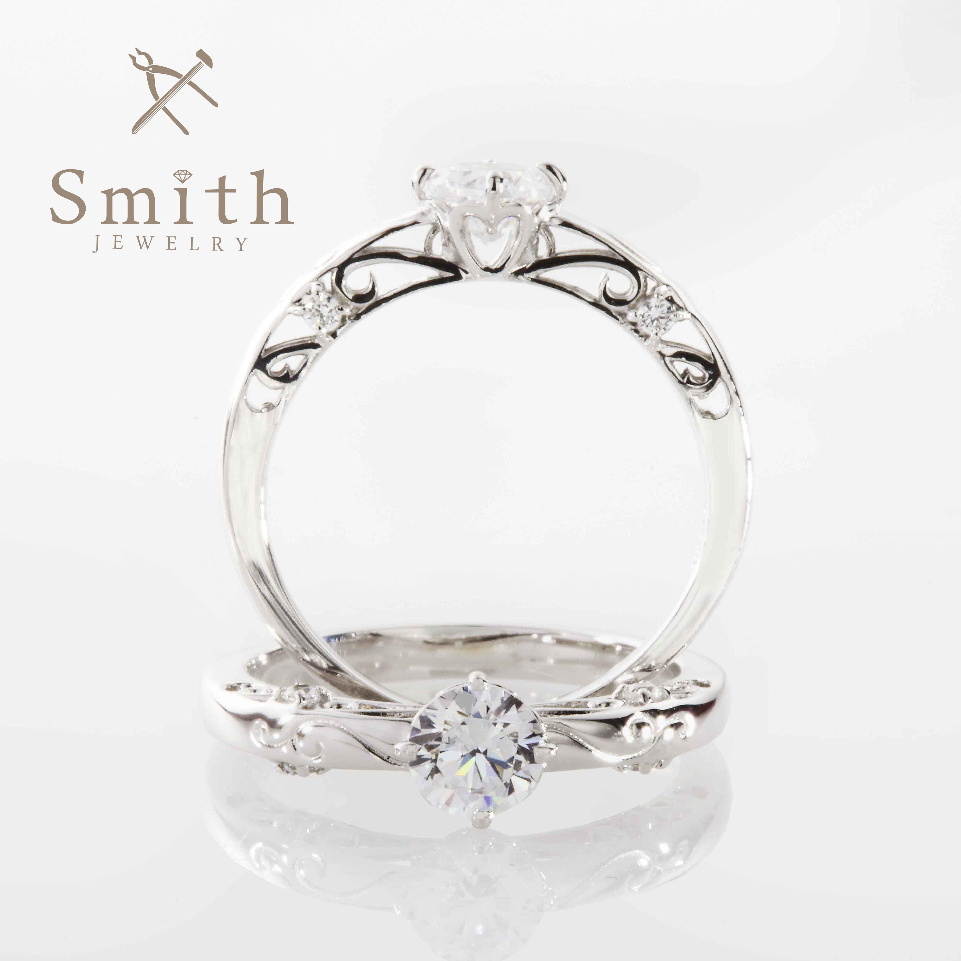 【Smith】オーダーメイド婚約指輪 透かし模様で上品な印象のエレガントスタイル