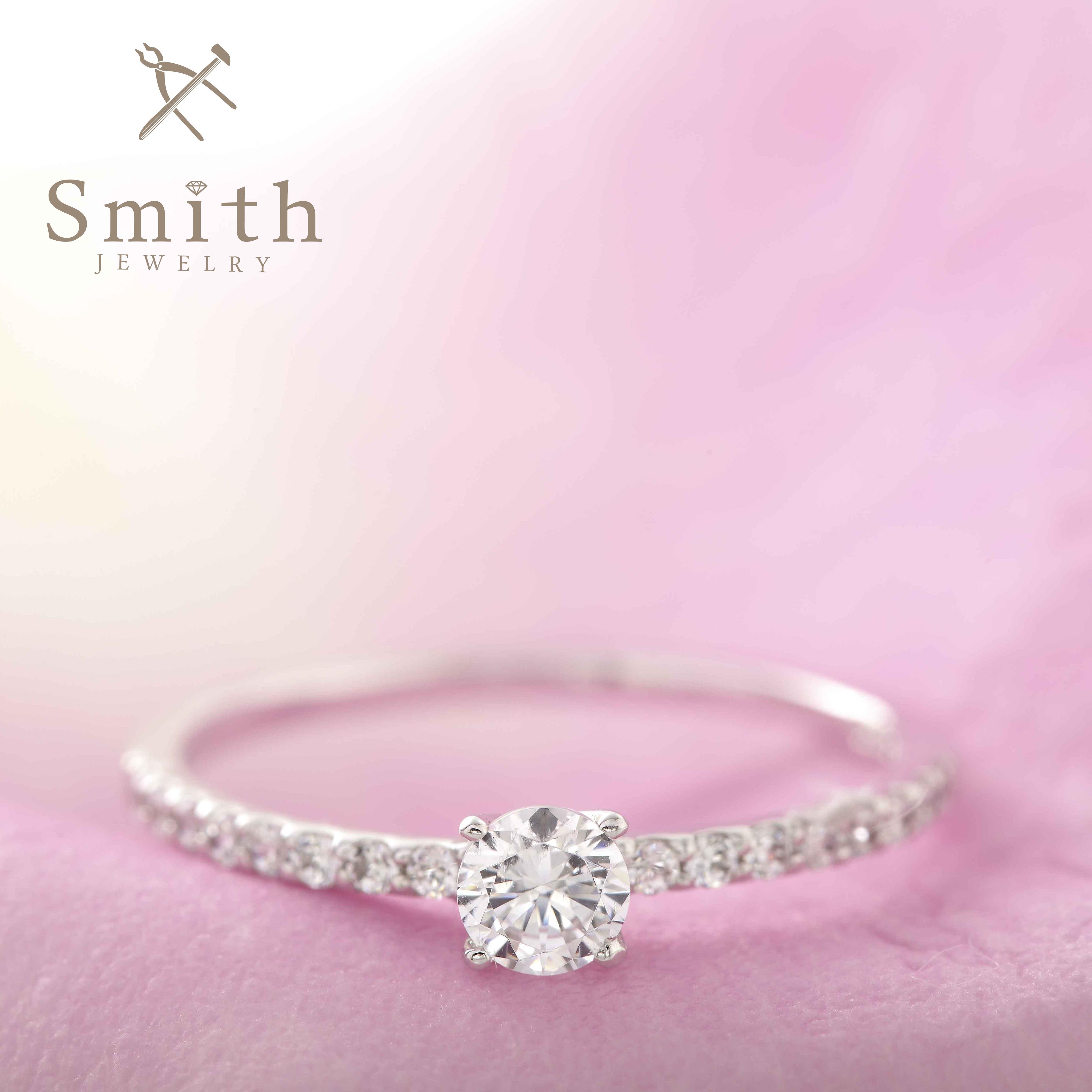 【Smith】オーダーメイド婚約指輪 華奢エタニティーにメインダイヤがキラリ!理想の指輪